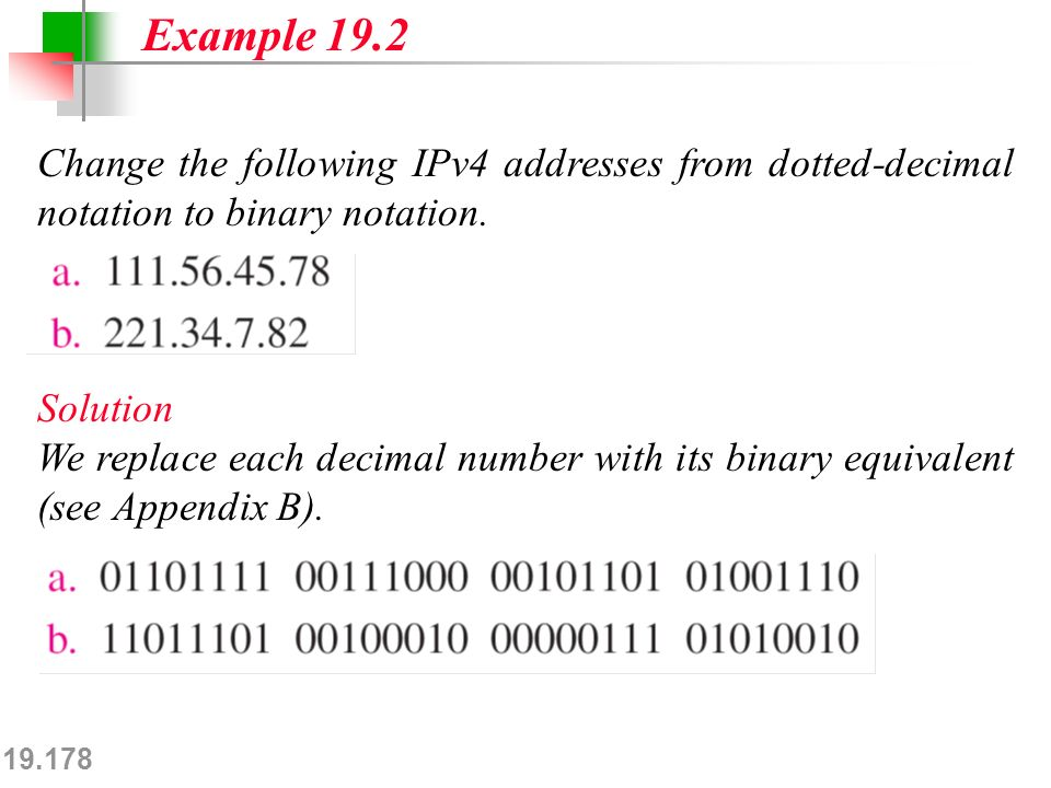 19.178 Change the following IPv4 addresses from dotted-decimal notation to binary notation.