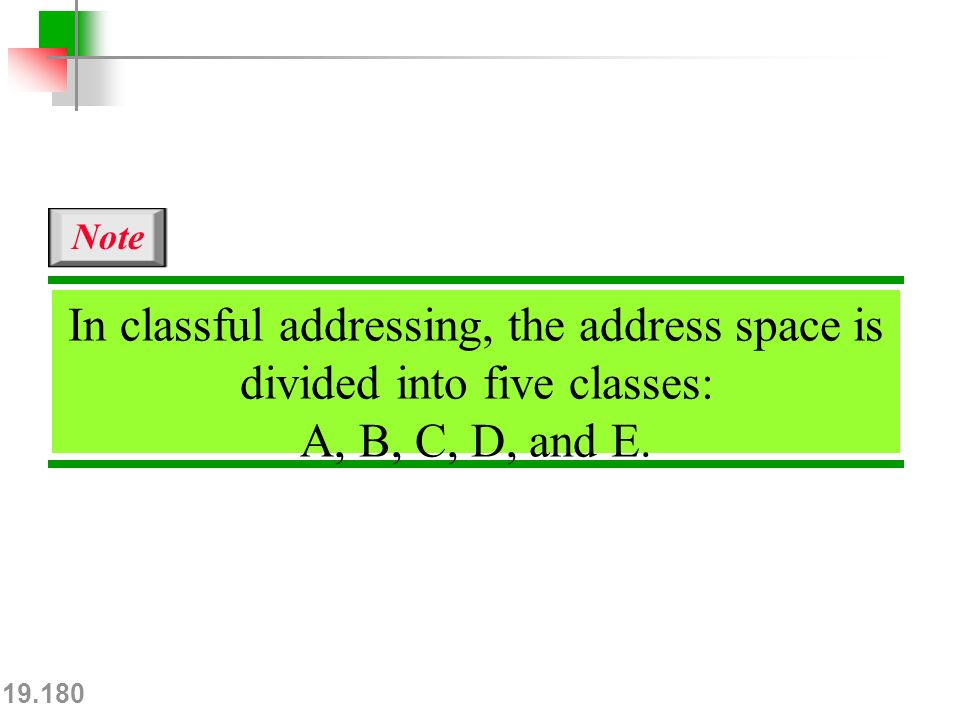 19.180 In classful addressing, the address space is divided into five classes: A, B, C, D, and E.