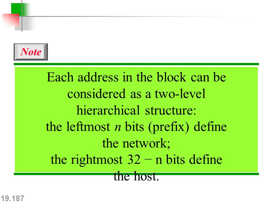 19.187 Each address in the block can be considered as a two-level hierarchical structure: the leftmost n bits (prefix) define the network; the rightmost 32 − n bits define the host.