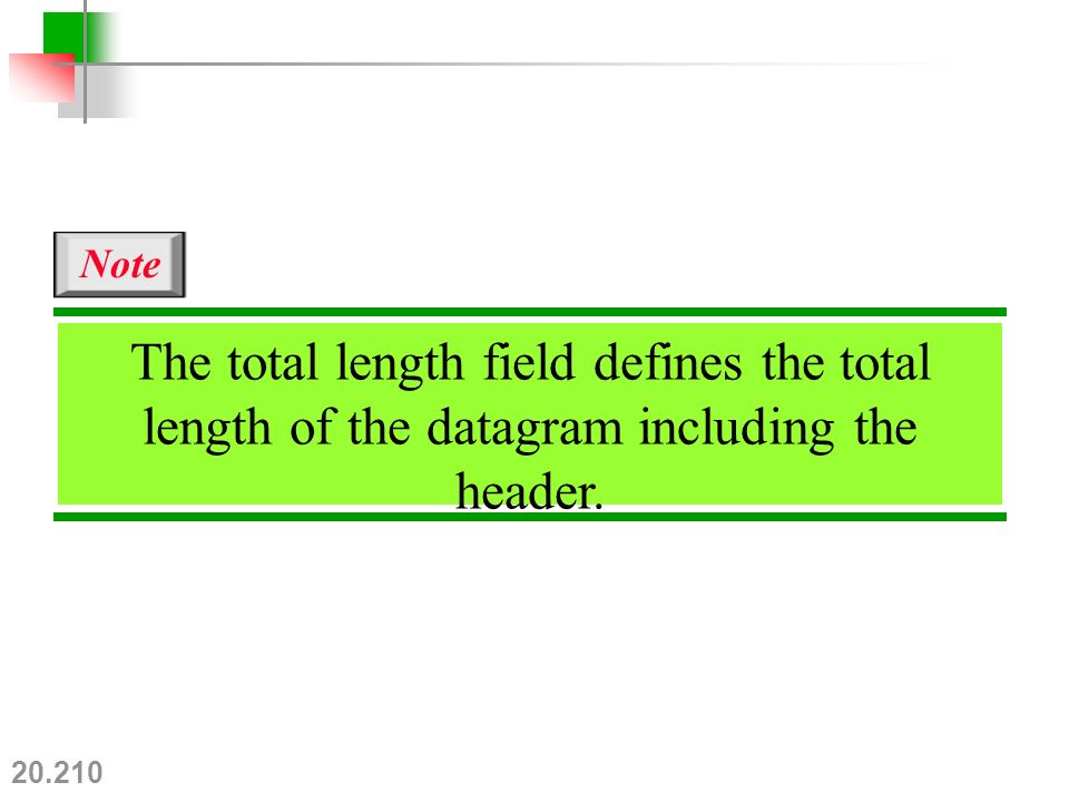 20.210 The total length field defines the total length of the datagram including the header. Note