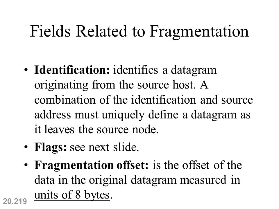 Fields Related to Fragmentation Identification: identifies a datagram originating from the source host.