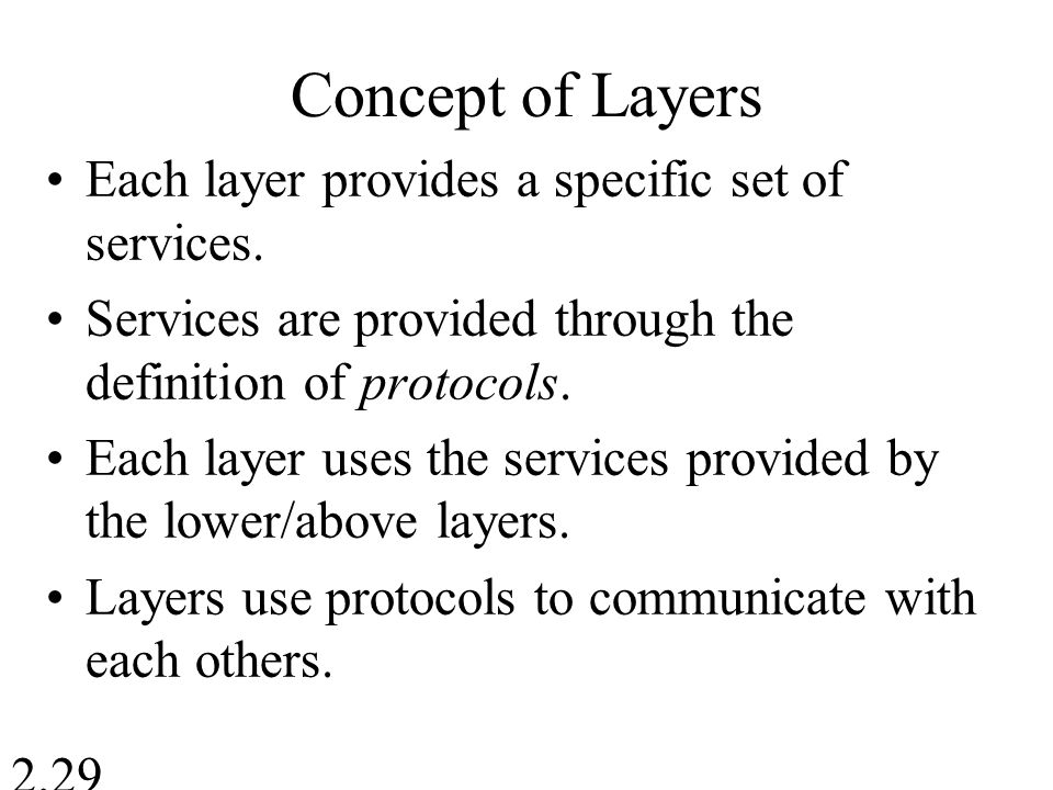Concept of Layers Each layer provides a specific set of services.