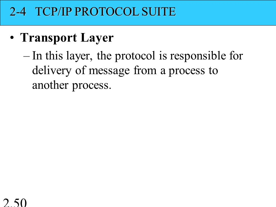 Transport Layer –In this layer, the protocol is responsible for delivery of message from a process to another process.