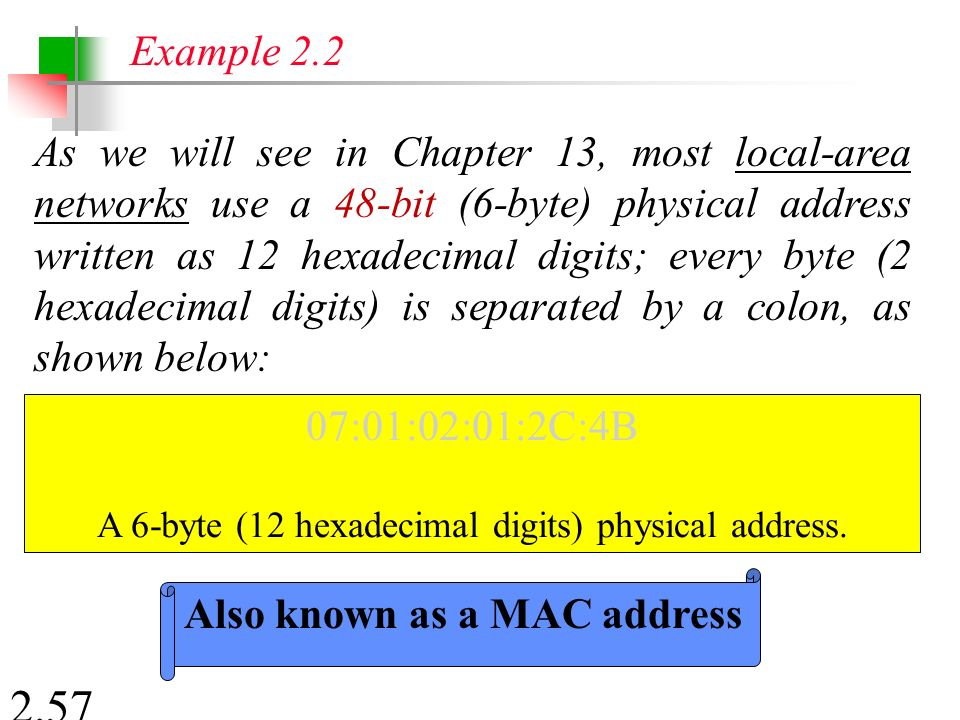 2.57 As we will see in Chapter 13, most local-area networks use a 48-bit (6-byte) physical address written as 12 hexadecimal digits; every byte (2 hexadecimal digits) is separated by a colon, as shown below: Example 2.2 07:01:02:01:2C:4B A 6-byte (12 hexadecimal digits) physical address.
