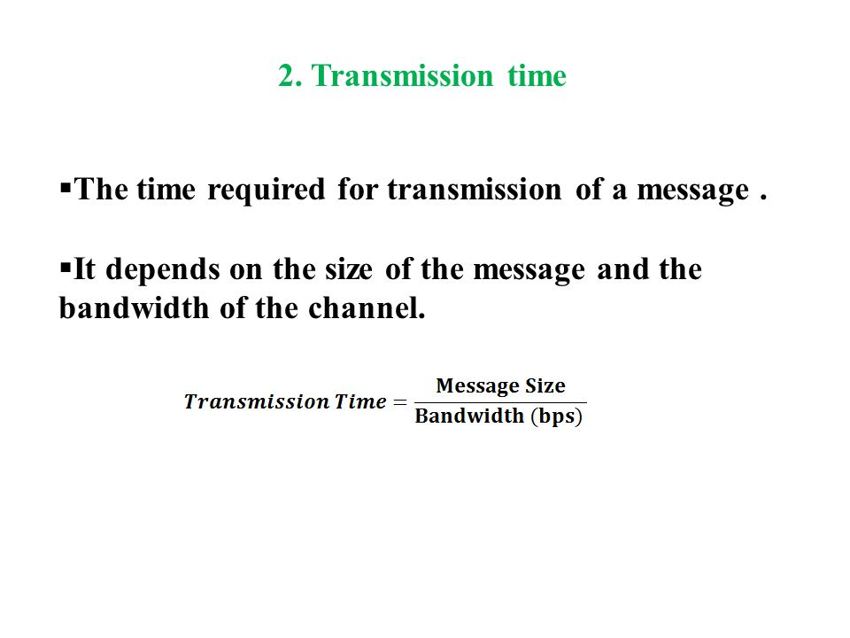  The time required for transmission of a message.
