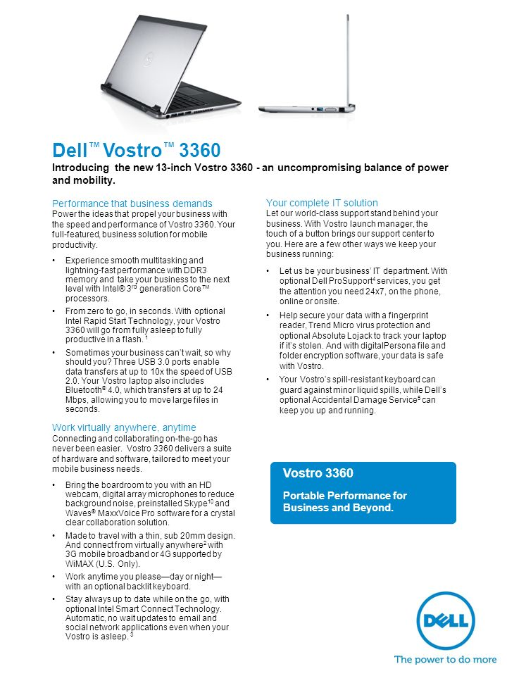 Dell ™ Vostro ™ 3360 Introducing the new 13-inch Vostro an