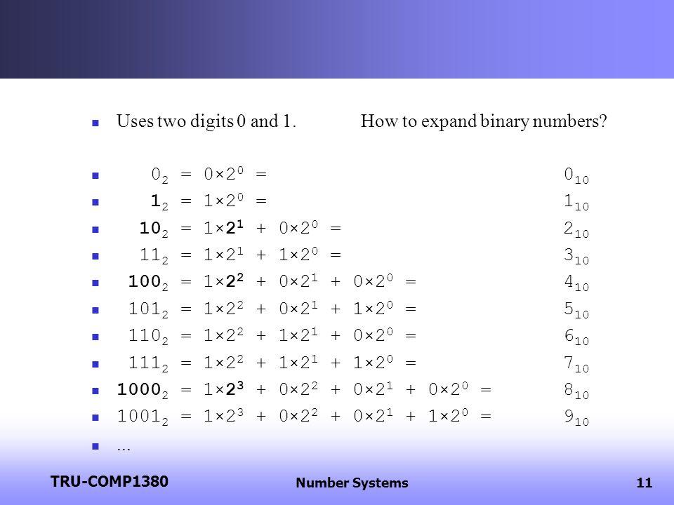Data Representation Winter 2013 COMP 2130 Intro Computer Systems