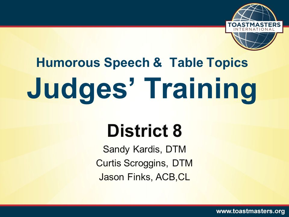 Humorous Speech & Table Topics Judges' Training District 8