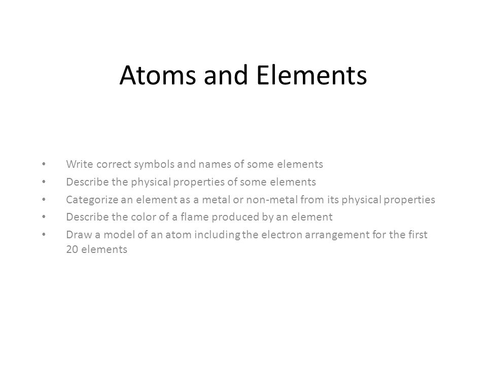 Atoms And Elements Write Correct Symbols And Names Of Some Elements