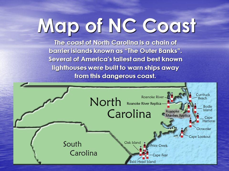 North Carolina Architecture Lighthouses. Map of NC Coast The coast ...