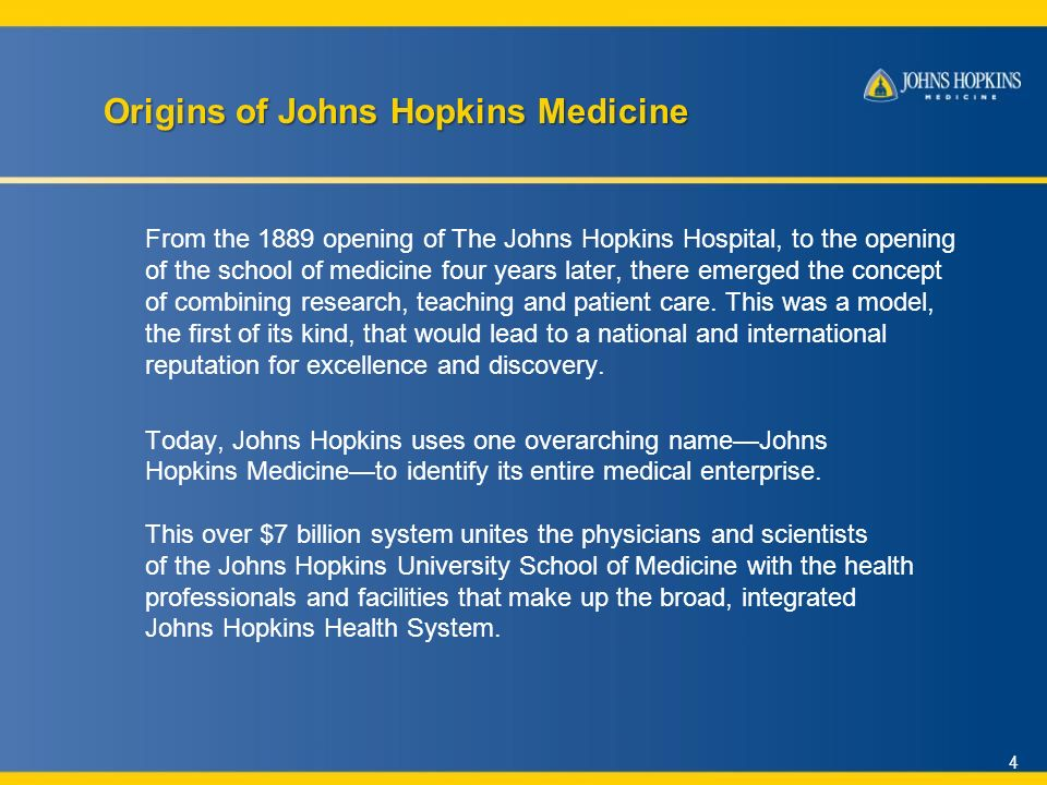 Excellence and Discovery A Brief  Johns Hopkins Medicine