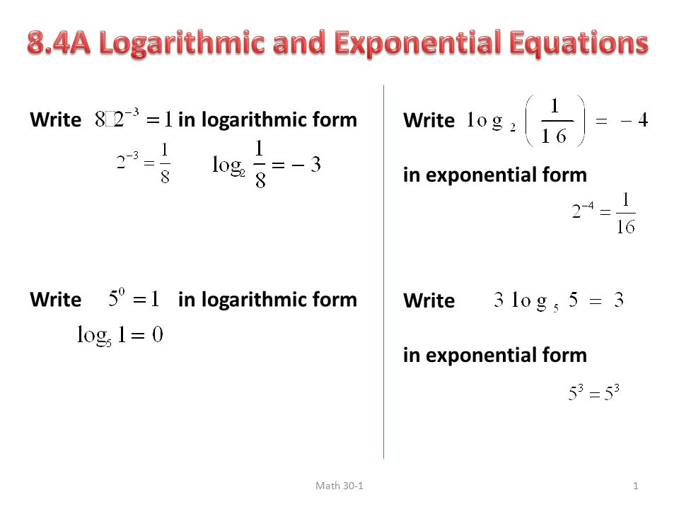write in logarithmic form write in exponential form write in