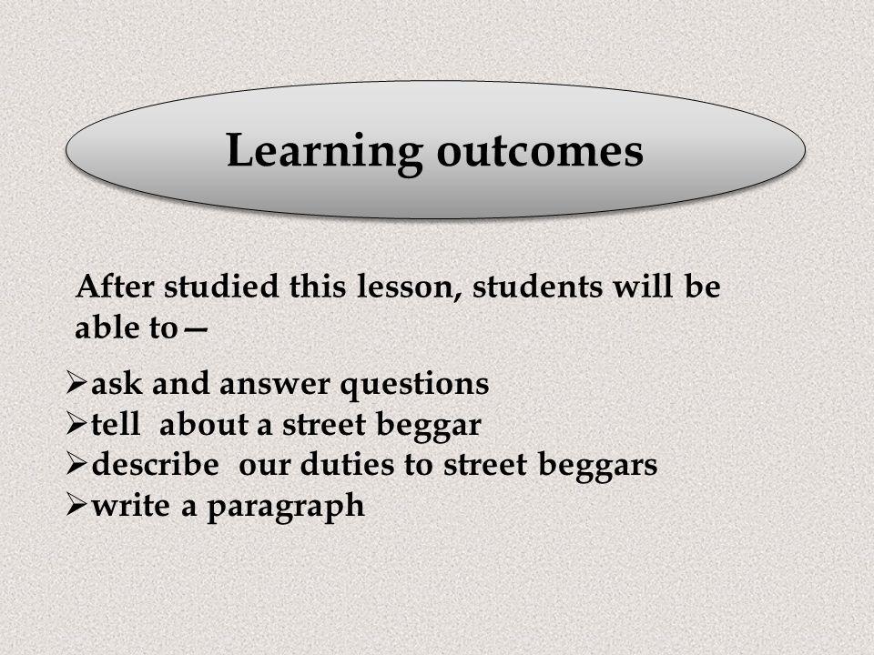 street beggar paragraph