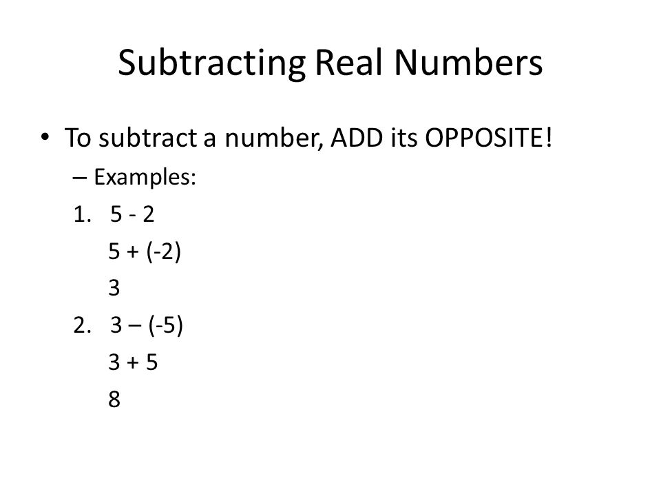 Adding And Subtracting Real Numbers Vocabulary Additive Inverse The