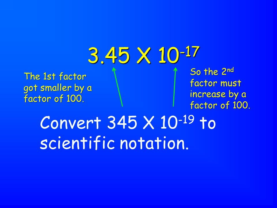 Convert 345 X 10 -19 to scientific notation.