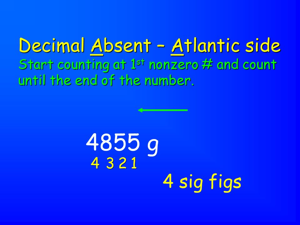 4855 g Decimal Absent – Atlantic side Start counting at 1 st nonzero # and count until the end of the number.