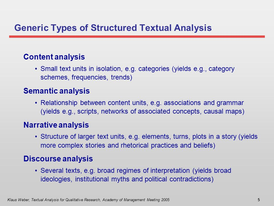 structure of a text analysis