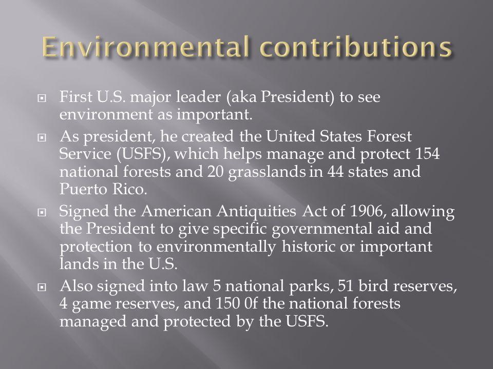 theodore roosevelt environmental contributions