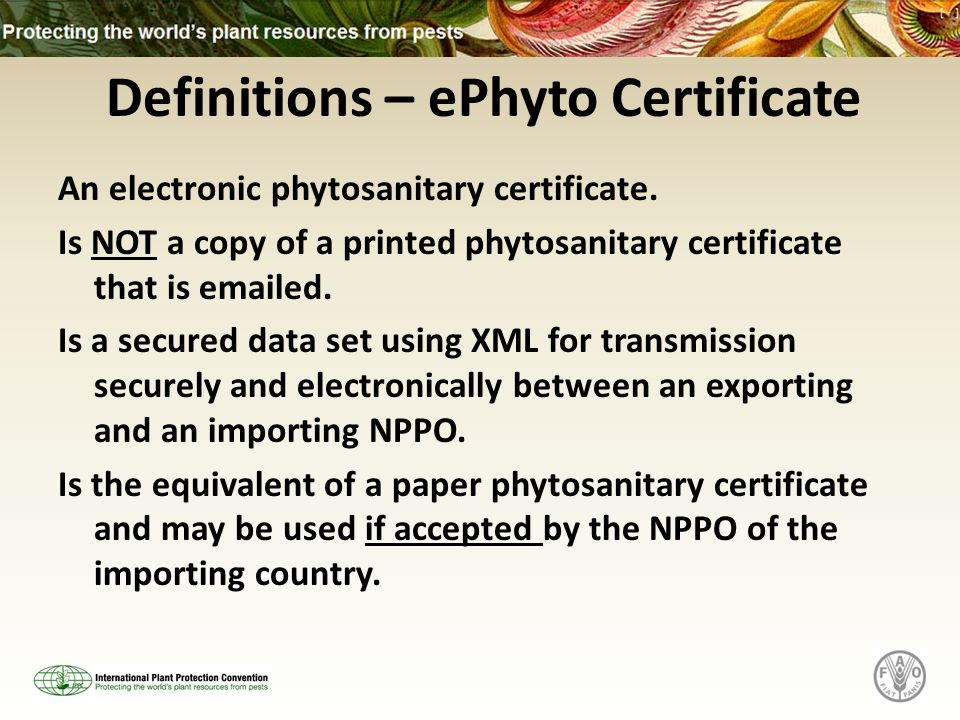 Electronic Phytosanitary Certification A Presentation by the ...