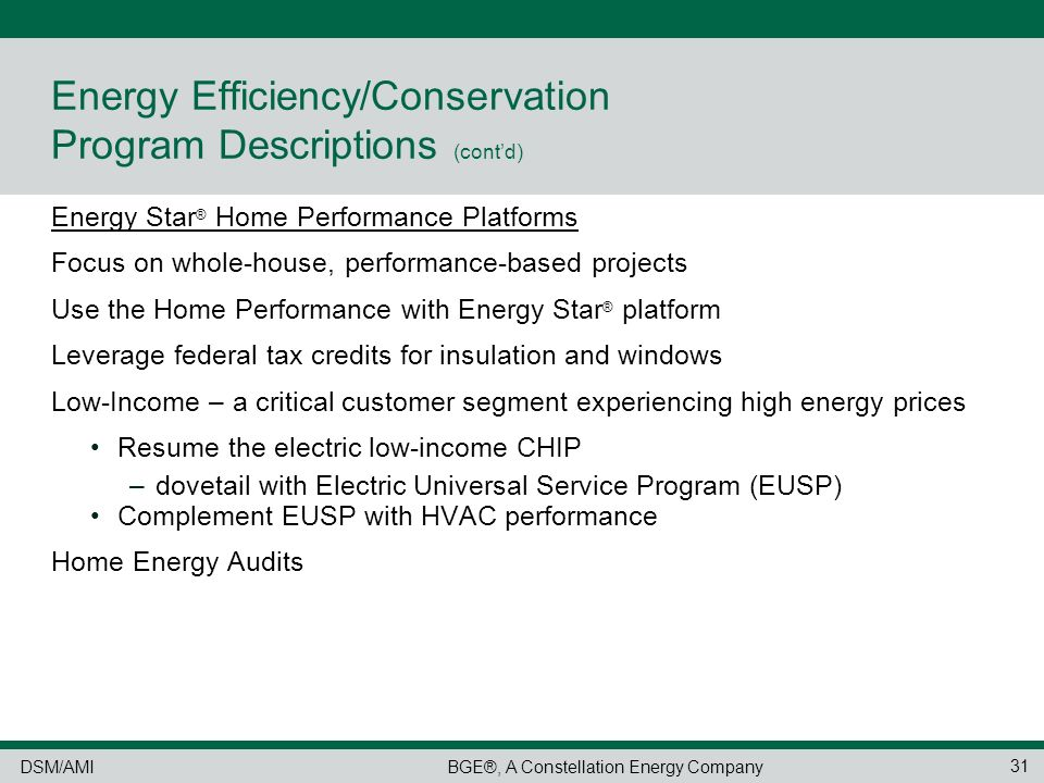 Demand Side Management Programs Energy Efficiency/Conservation ...