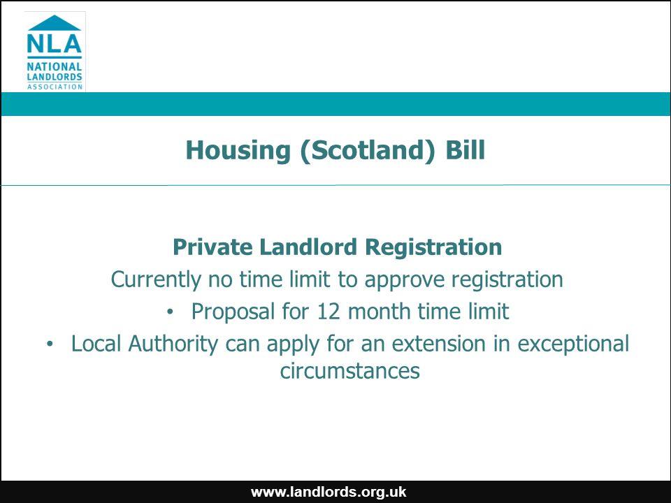 Housing (Scotland) Bill Proposals…   Private rented housing