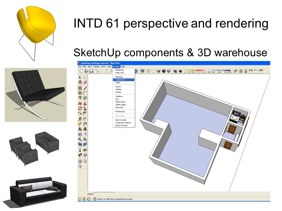 INTD 61 perspective and rendering SketchUp components & 3D