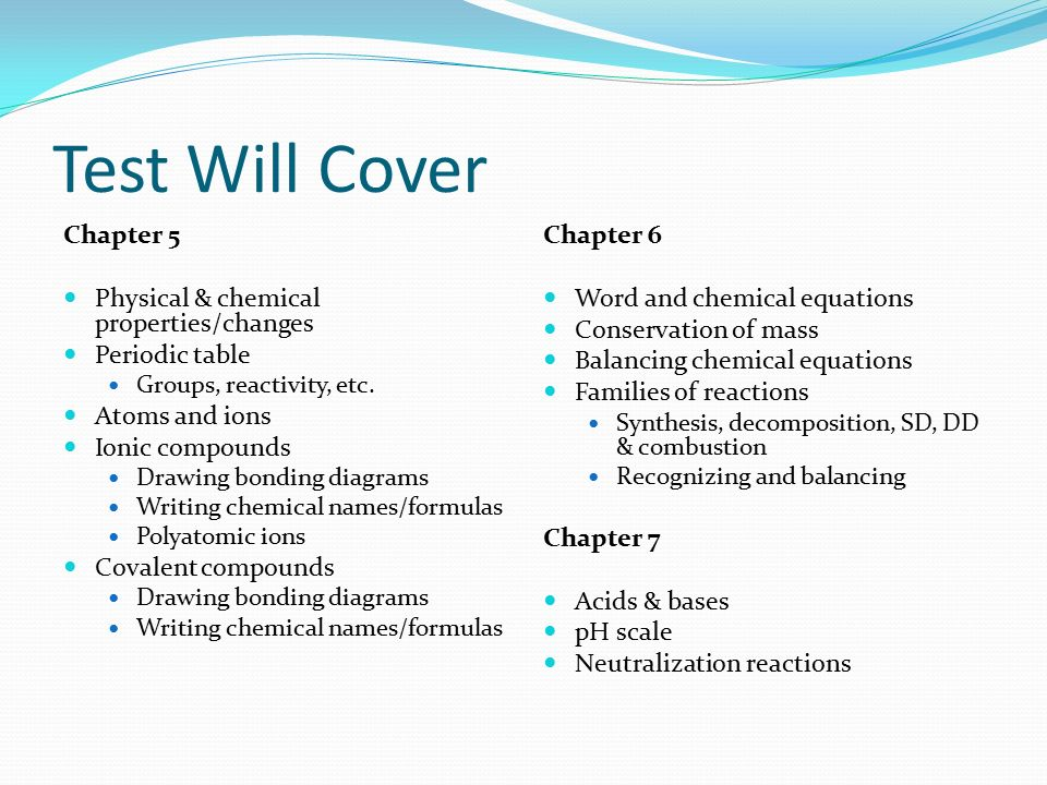 Unit test review test will cover chapter 5 physical chemical 2 test urtaz Image collections