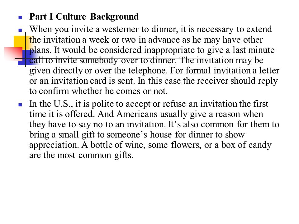 Unit six invitation part i culture background part ii functional part i culture background when you invite a westerner to dinner it is necessary to stopboris Images