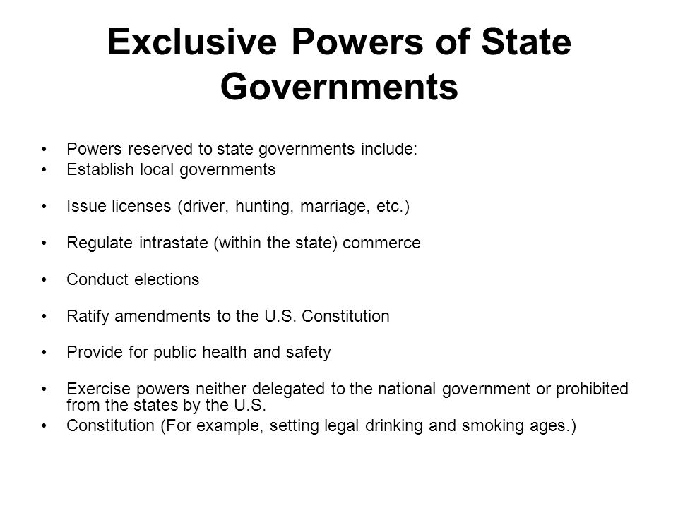 Types of power identify the powers of the federal govt listed to.