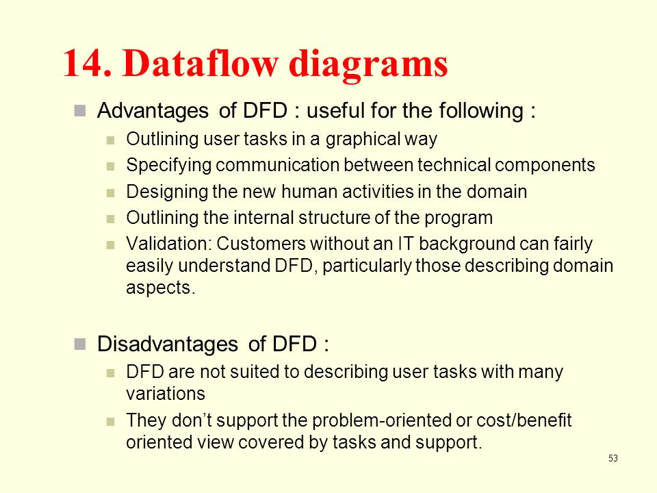 53 53 advantages of dfd : useful for the following : outlining user tasks  in a graphical way specifying communication between technical components  designing