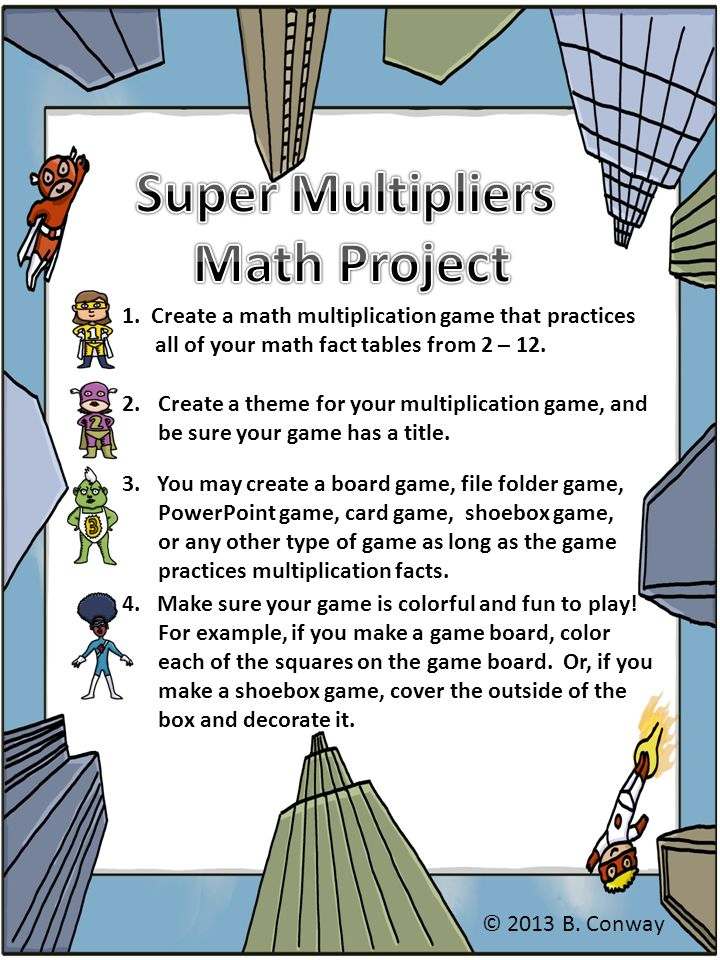 1  Create a math multiplication game that practices all of