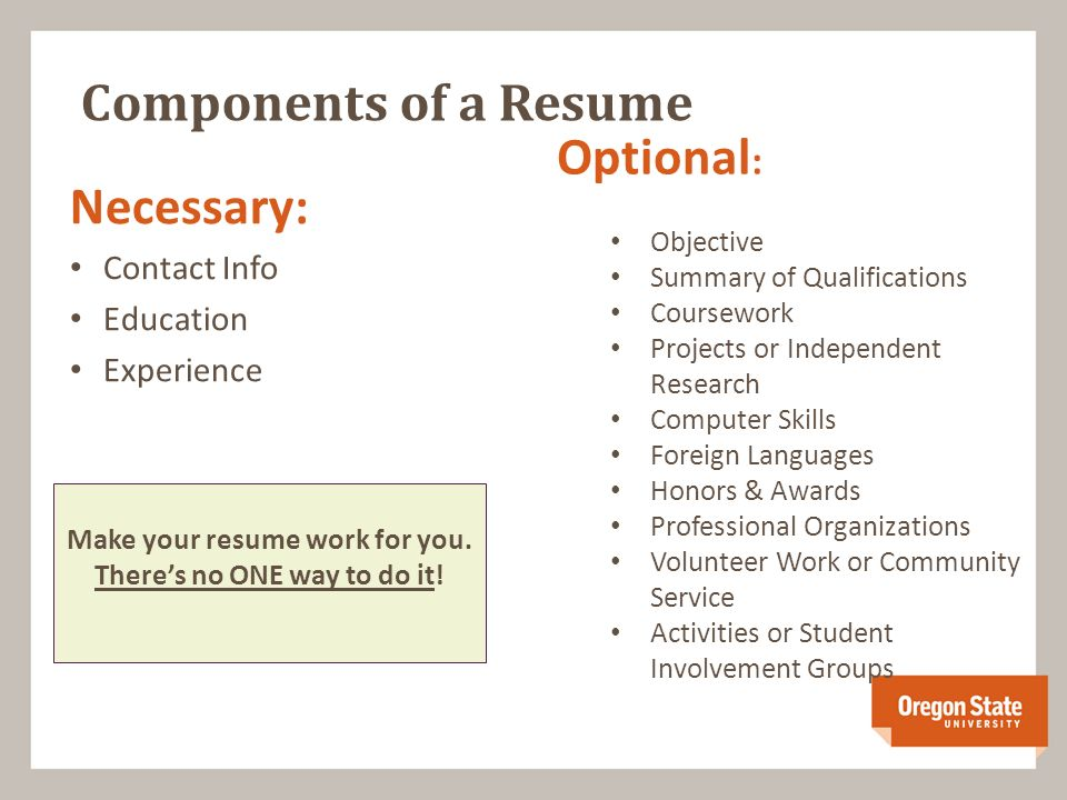 10 Components Of A Resume Necessary Contact Info Education Experience Optional Objective Summary Qualifications Coursework Projects Or Independent