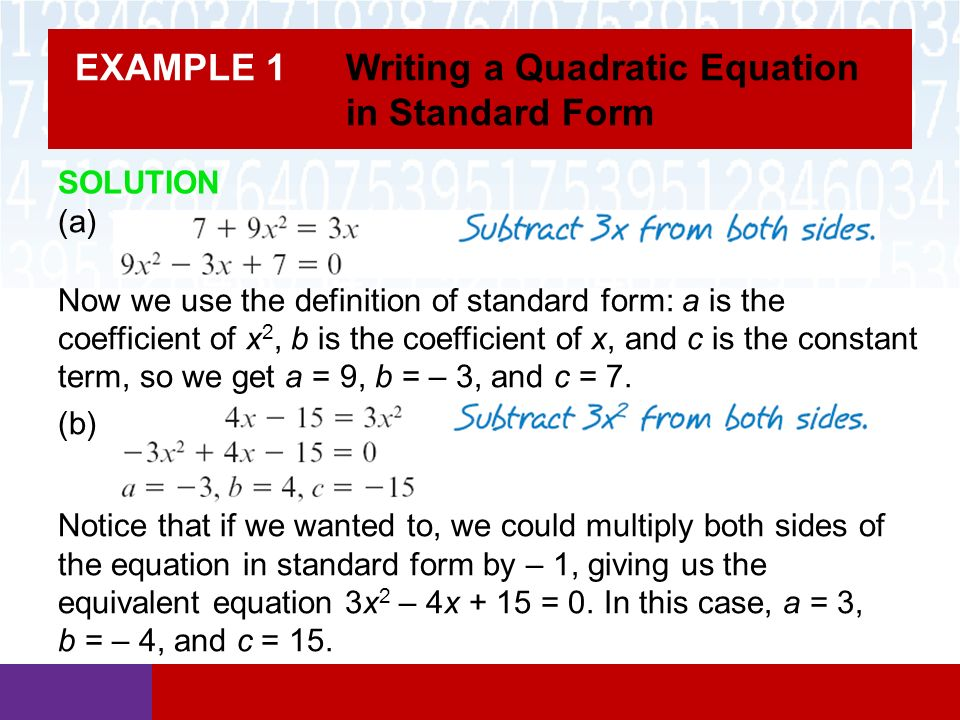 Section 66 Solving Quadratic Equations Math In Our World Ppt