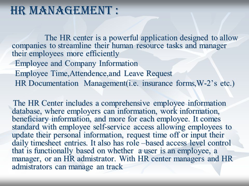 Project Presentation By Human Resource Human Resource Management System Management System Ppt Download