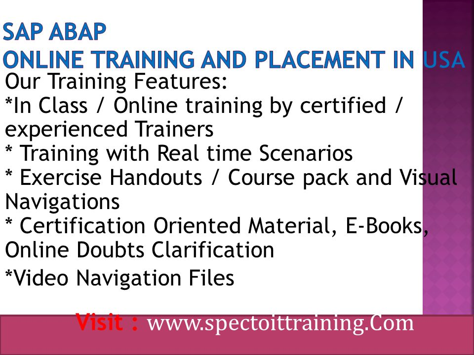 SAP ABAP Online Training and Placement in USA Visit : SPECTO