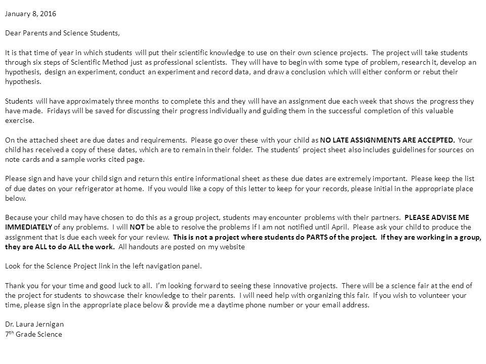 Science Project Assignment #1  Handouts Parent Letter Assignment Due
