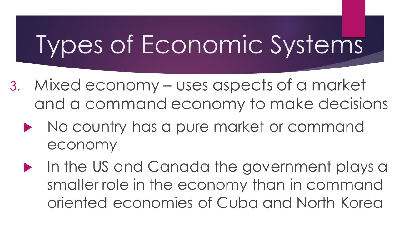 types of economic systems Types of economic systems the last economic system is the mixed market system the mixed market system can be associated with both the planned and the market economies.