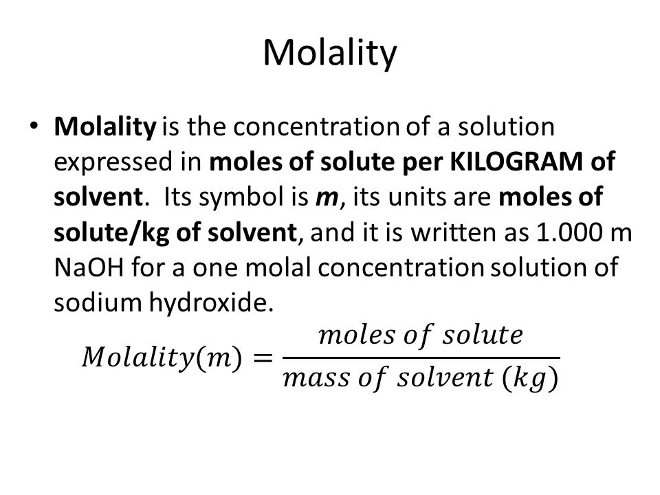 Solubility Dilution Molarity Molality Solutions Our Next Topic