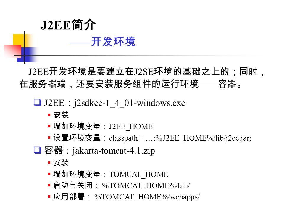 背景 基本概念 组成 系统构架 现状与展望 J2EE 开发环境第十二