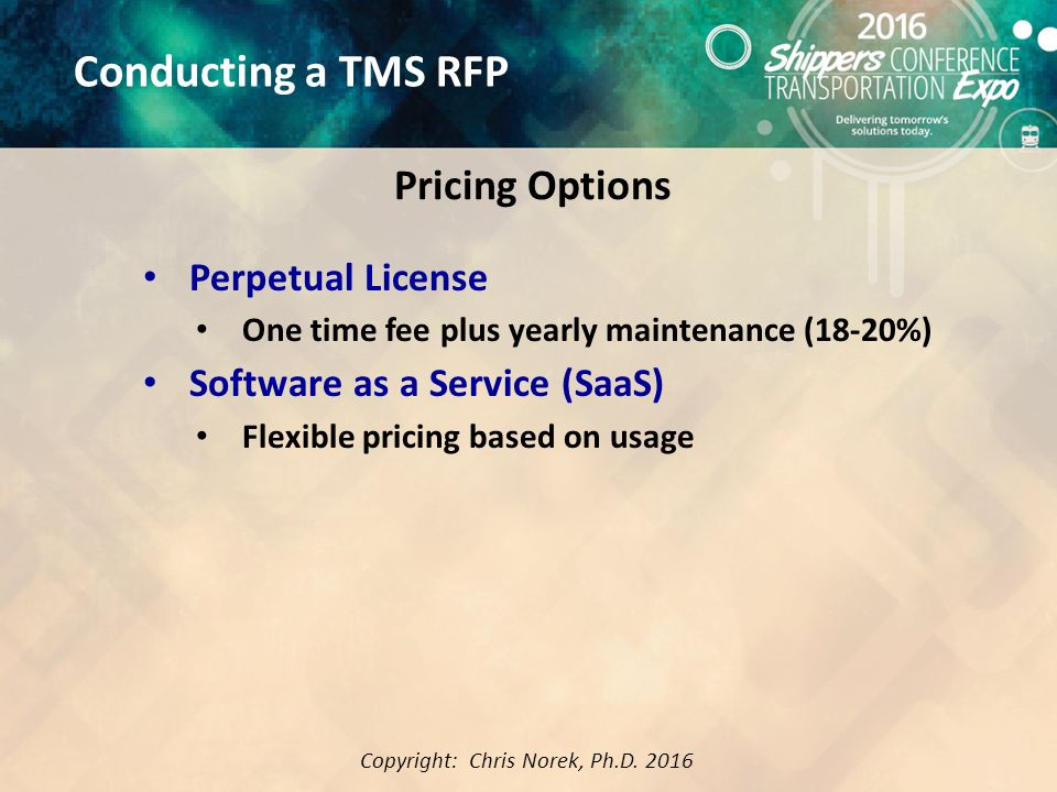 Best Practices for Conducing and Evaluating a TMS RFP Chris