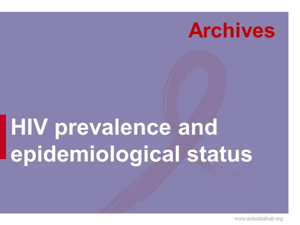 www.aidsdatahub.org HIV prevalence and epidemiological status
