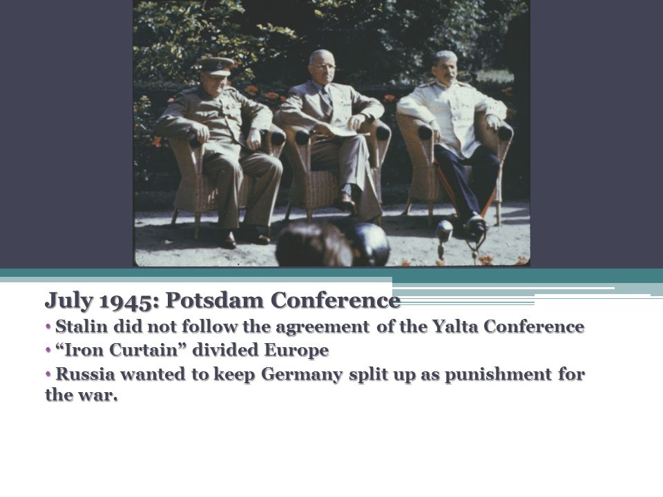"""the agreement of the big three and the cold war At the first gathering of the """"big three"""" allied powers in the wake of germany's defeat in world war ii, there was """"no bubbling overflow of talk at luncheons and dinners in the intervals."""