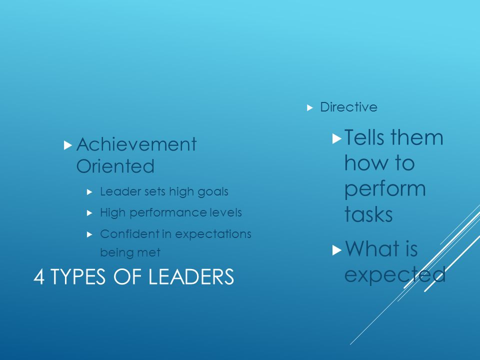 4 TYPES OF LEADERS  Directive  Tells them how to perform tasks  What is expected  Achievement Oriented  Leader sets high goals  High performance levels  Confident in expectations being met