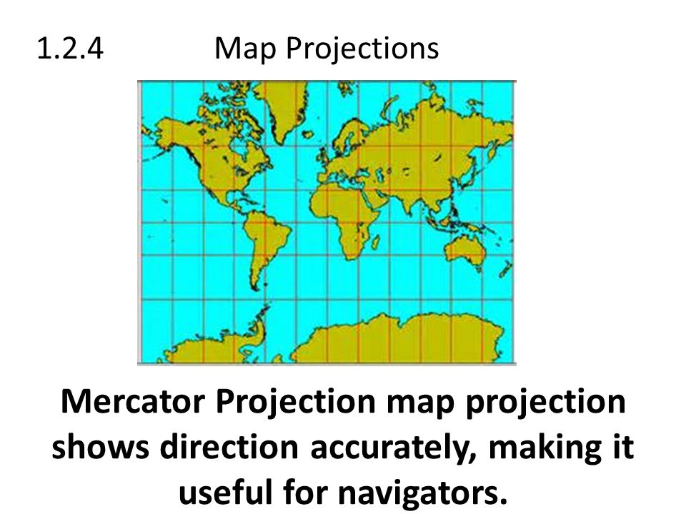 map projection definition Conic projection conical projection (a map projection of the globe onto a cone with its point over one of the earth's poles) equal-area map projection  equal-area projection (a map projection in which quadrilaterals formed by meridians and parallels have an area on the map proportional to their area on the globe.