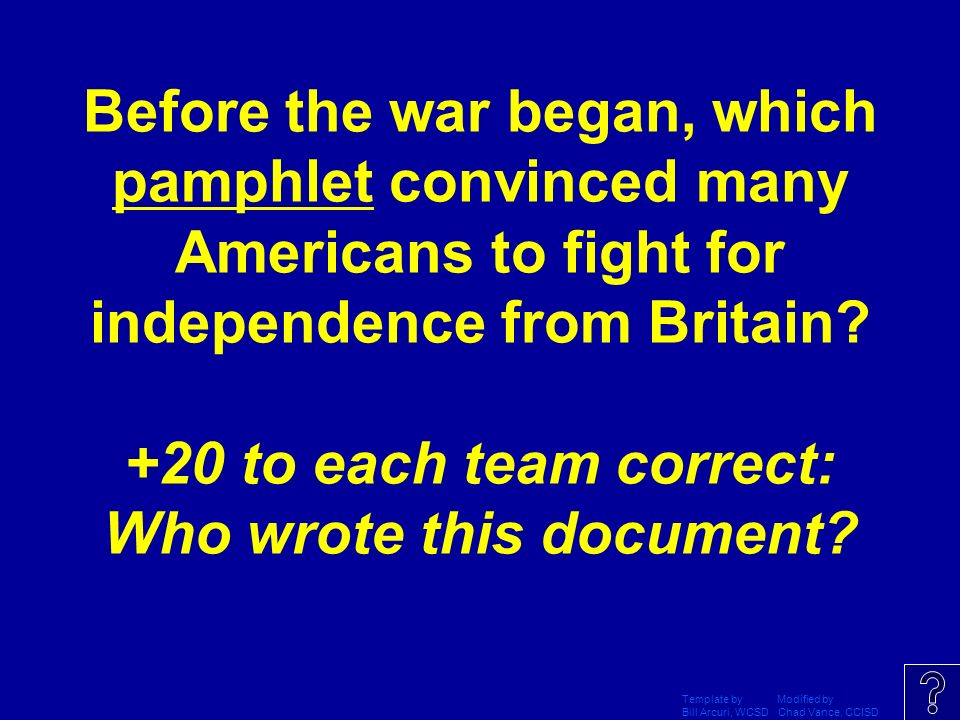 Jeopardy template by modified by bill arcuri wcsd chad vance daily double graphic and sound effect do not delete this slide maxwellsz
