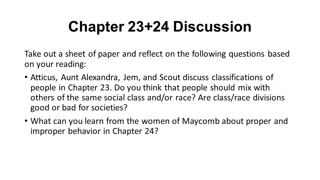 to kill a mockingbird chapter 23 answers
