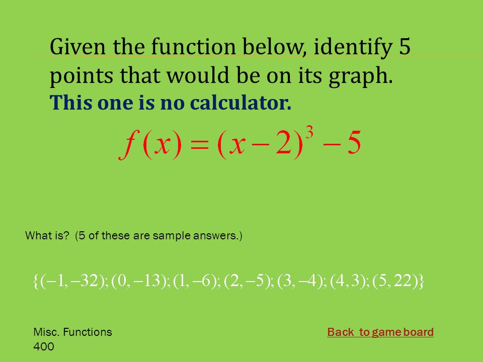 Chapter 3 Jeopardy Algebra 2  Misc  Functions Applications