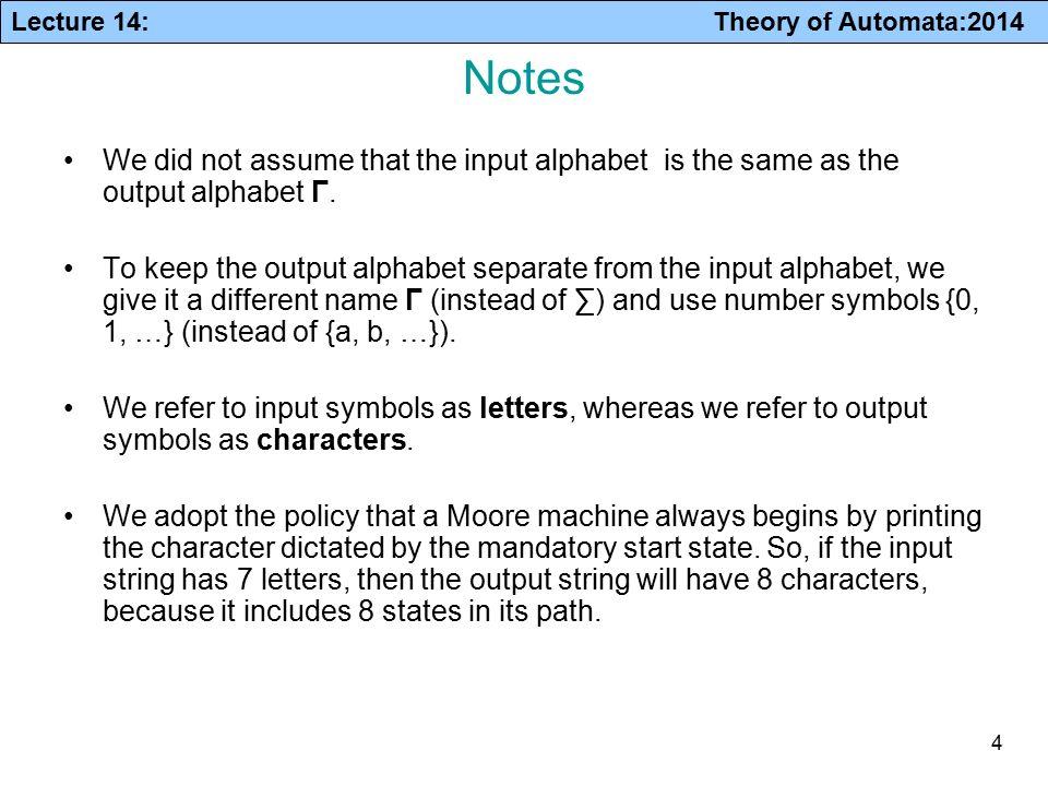 Lecture 14 Theory Of Automata2014 Finite Automata With Output