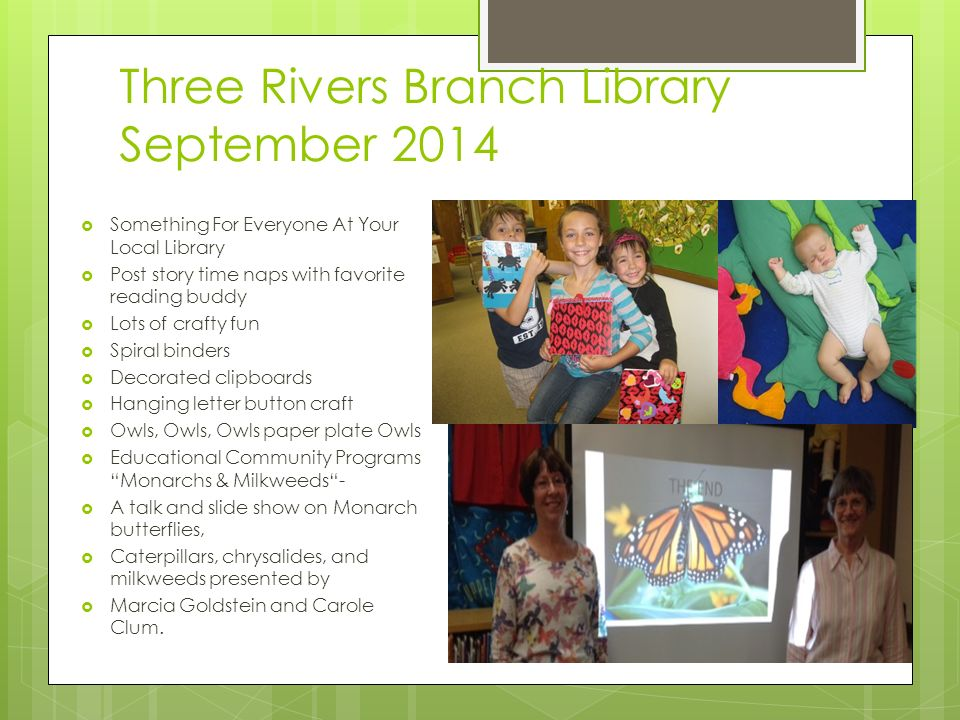 Tulare County Library Report September Through a