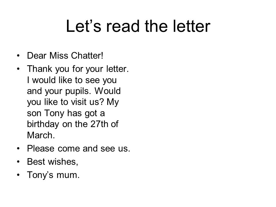 Happy birthday read the words bird first third birth lets read the letter dear miss chatter thank you for your letter expocarfo Images